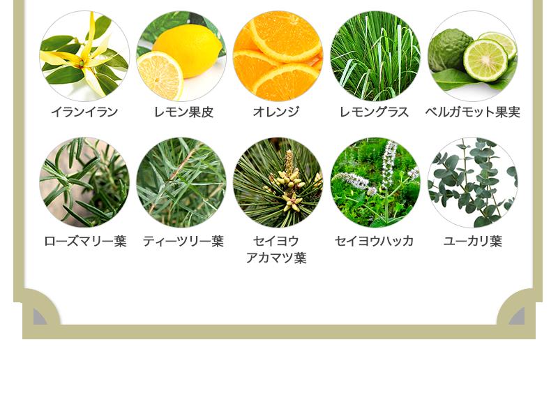 イランイラン | レモン果皮 | オレンジ | レモングラス | ベルガモット果実 | ローズマリー葉 | ティーツリー葉 | セイヨウ アカマツ葉 | セイヨウハッカ | ユーカリ葉