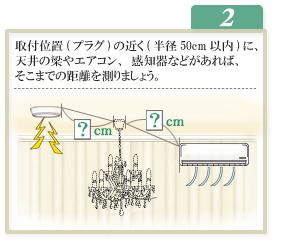 2.取付位置(プラグ)の近く(半径50cm以内)に、天井の梁やエアコン、感知器などがあれば、そこまでの距離を測りましょう。